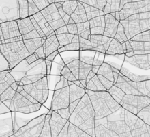 London, England Map. (Black on white) Sticker
