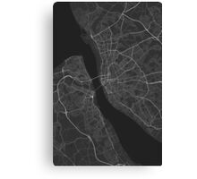 Liverpool, England Map. (White on black) Canvas Print