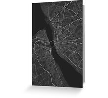 Liverpool, England Map. (White on black) Greeting Card