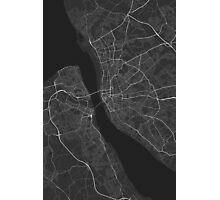 Liverpool, England Map. (White on black) Photographic Print