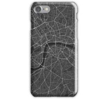 London, England Map. (White on black) iPhone Case/Skin