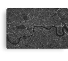 London, England Map. (White on black) Canvas Print