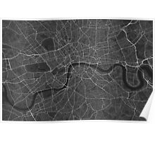London, England Map. (White on black) Poster