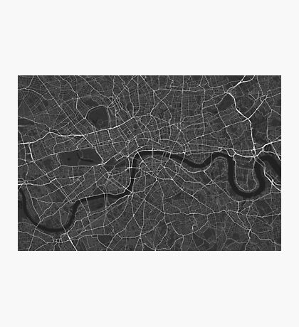 London, England Map. (White on black) Photographic Print