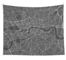 London, England Map. (White on black) Wall Tapestry