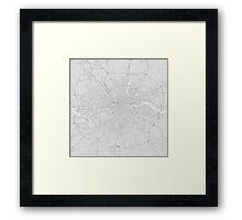 London, England Map. (Black on white) Framed Print