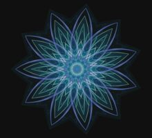 Fractal Flower - Blue by Leah McNeir