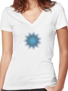 Fractal Flower - Blue Women's Fitted V-Neck T-Shirt