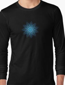 Fractal Flower - Blue Long Sleeve T-Shirt