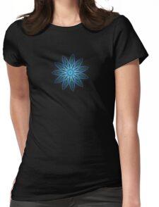Fractal Flower - Blue Womens Fitted T-Shirt