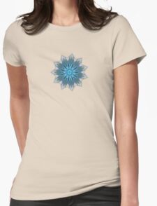 Fractal Flower - Blue Womens Fitted T-Shirt