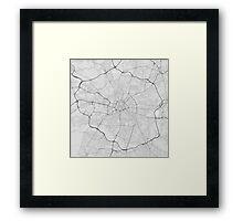Manchester, England Map. (Black on white) Framed Print