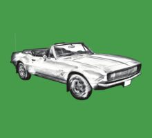 1967 Convertible Camaro Car Illustration Baby Tee