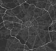 Manchester, England Map. (White on black) by Graphical-Maps