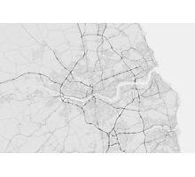 Newcastle, England Map. (Black on white) Photographic Print