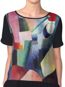 Vintage famous art - August Macke - Colored Composition Of Forms Chiffon Top