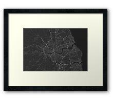 Newcastle, England Map. (White on black) Framed Print