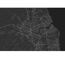 Newcastle, England Map. (White on black) Photographic Print