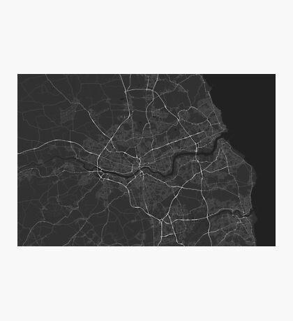 Newcastle, England Map. (White on black) Photographic Print