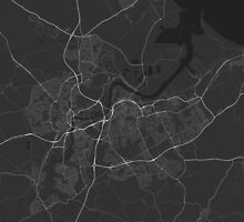 Middlesbrough, England Map. (White on black) by Graphical-Maps