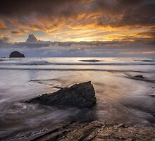 Cornwall - Trebarwith Sunset by Angie Latham