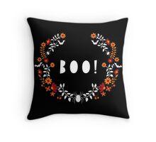 Boo! Halloween Spiders & Bats Throw Pillow