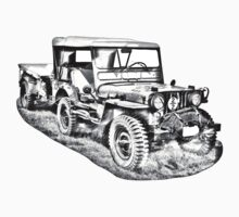 Willys World War Two Army Jeep Illustration Kids Clothes