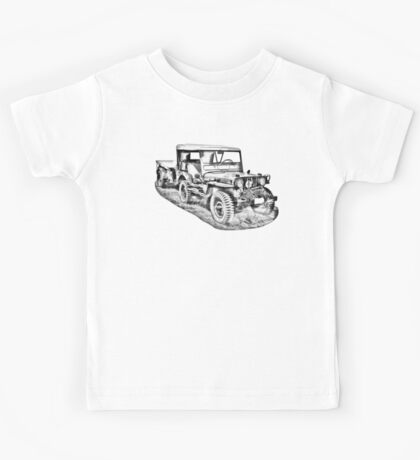 Willys World War Two Army Jeep Illustration Kids Tee