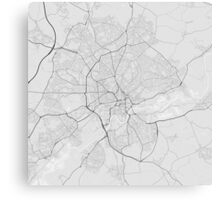 Nottingham, England Map. (Black on white) Canvas Print