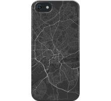 Nottingham, England Map. (White on black) iPhone Case/Skin