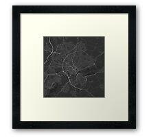 Nottingham, England Map. (White on black) Framed Print