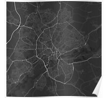 Nottingham, England Map. (White on black) Poster