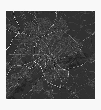 Nottingham, England Map. (White on black) Photographic Print