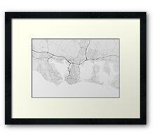 Portsmouth, England Map. (Black on white) Framed Print