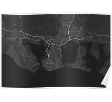 Portsmouth, England Map. (White on black) Poster
