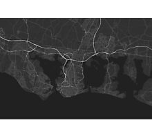 Portsmouth, England Map. (White on black) Photographic Print