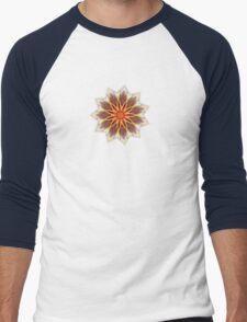 Fractal Flower - Red  Men's Baseball ¾ T-Shirt