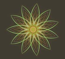 Fractal Flower-Yellow / Earthtones -geometric art by Leah McNeir