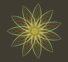 Fractal Flower-Yellow / Earthtones -geometric art by Leah McNeir