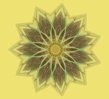 Fractal Flower-Yellow / Earthtones -geometric art One Piece - Short Sleeve