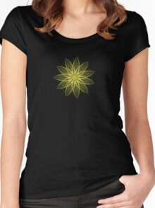 Fractal Flower-Yellow / Earthtones -geometric art Women's Fitted Scoop T-Shirt