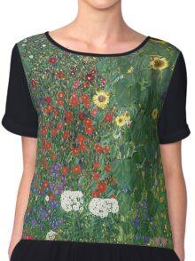 Gustav Klimt - Farm Garden With Flowers - Klimt- Landscape- Garden With Flowers Chiffon Top