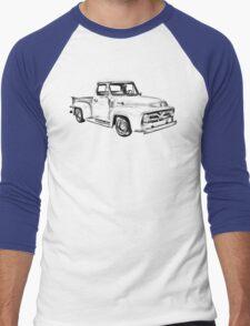 1955 F100 Ford Pickup Truck Illustration Men's Baseball ¾ T-Shirt