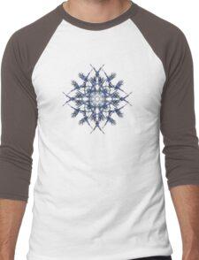 Barbed Blue - Fractal Art design Men's Baseball ¾ T-Shirt