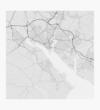 Southampton, England Map. (Black on white) Photographic Print