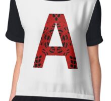 Red,Black,Letter,Initial,A,Alphabet,Lace Chiffon Top