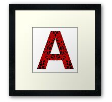 Red,Black,Letter,Initial,A,Alphabet,Lace Framed Print