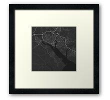 Southampton, England Map. (White on black) Framed Print