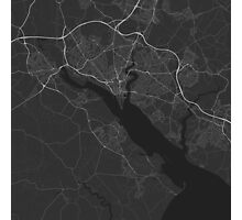 Southampton, England Map. (White on black) Photographic Print