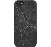 Stoke, England Map. (White on black) iPhone Case/Skin